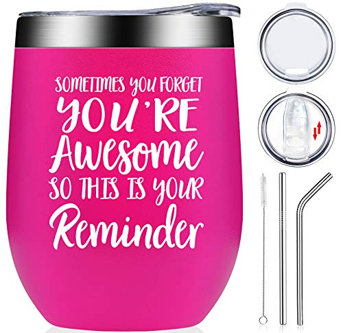 Thank You Gifts - Inspirational Birthday Graduation Gift for Women, Coworker, Best Friend, Teacher, Mom, Sister, Nurse - Sometimes You Forget That You are Awesome - Wine Tumbler Cup Neon Pink 12oz