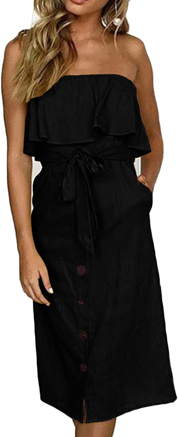 Belypoe Womens Flounce Lace up Off Shoulder Button Down Jumpsuit Dress with Pockets