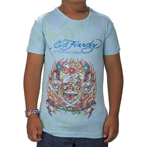 Ed Hardy Mädchen T-Shirt Tiger - Blau - Groß