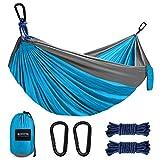 Kootek Camping Hammock Double & Single Portable Hammocks with 2 Hanging Ropes, Lightweight Nylon Parachute Hammocks for Backpacking, Travel, Beach, Backyard, Hiking (Sky Blue & Grey, Small)