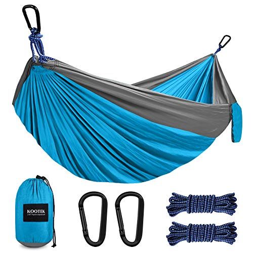 Kootek Camping Hammock Single Portable Tree Hammocks with 2 Hanging Ropes, Lightweight Nylon Parachute Hammocks for Backpacking, Travel, Beach, Backyard, Hiking