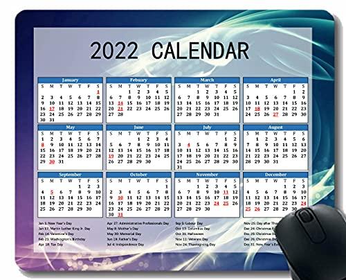 2022 Calendario Almohadilla De Ratón, Línea De Luz De Ola De Humo Estera De Ratón para Computadoras De Oficina para Mujeres Mujeres Mujeres
