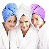 Laluztop Microfiber Hair Towel Turban Wrap 3 Pack Anti Frizz Absorbent & Soft Shower Head Towel, Quick Dryer Hat, Bathing Wrapped Cap for Women Girls Mom Daughter (Large, Blue&Purple&White)
