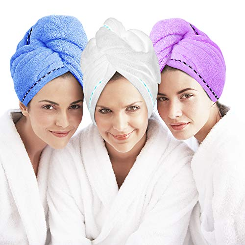 Microfiber Hair Towel Turban Wrap 3 Pack - Laluztop Anti Frizz Absorbent & Soft Shower Head Towel, Quick Dryer Hat, Bathing Wrapped Cap for Women Girls Mom Daughter (Large, Blue&Purple&White)