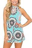 Spadehill Womens Cotton Casual Strap Sleeveless Romper Boho Summer Floral Print Beach Short Jumpsuit Light Blue M