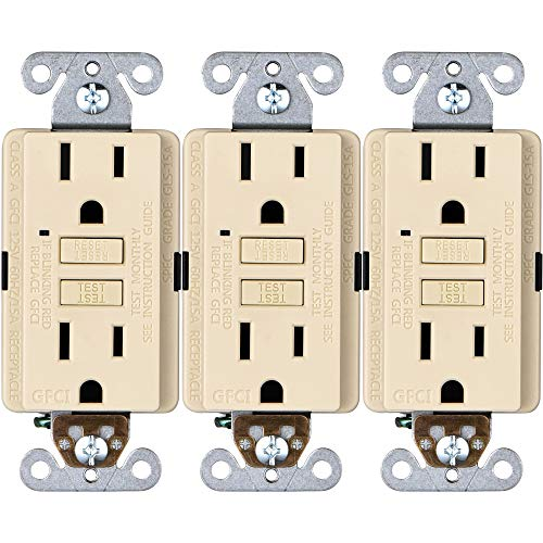 Faith 15A GFCI Outlets, Non-Tamper-Resistant GFI Duplex Receptacles with LED Indicator, Self-Test Ground Fault Circuit Interrupter, ETL Listed, Ivory, 3-Pack