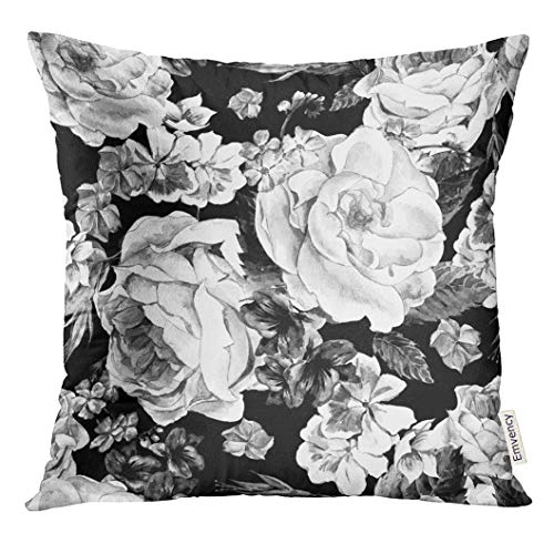 Emvency Throw Pillow Cover Black and White with Floral Bouquet of Roses Daisy Blue Wild Flowers in Vintage Style Watercolor Decorative Pillow Case Home Decor Square 18x18 Inches Pillowcase