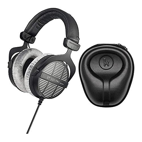 Beyerdynamic DT-990 Pro Acoustically Open Headphones (250 Ohms) with Knox Gear Large Hard Shell Headphone Case Bundle (2 Items) (Renewed)