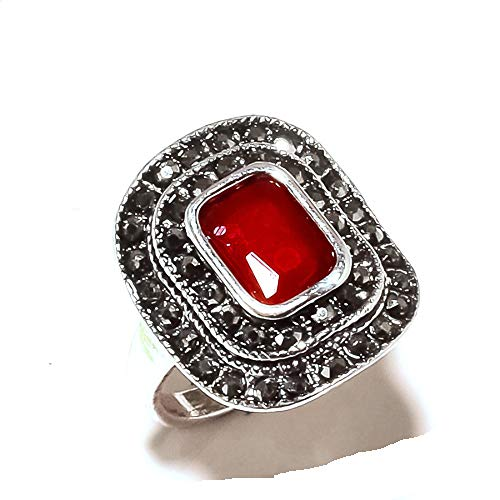 Shivi MARKA Design! Ring Size 7.5 US, Simulated, Red Dyed Ruby! Sterling Silver Plated, Handmade! Jewelry from