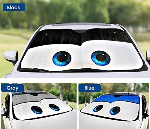 OLSUS Car Windshield Sunshade Cartoon Eyes Front Auto Sun Shield Shade Visor Vehicle Accessories Black
