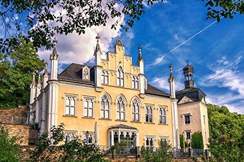 HQHff Romántico Castillo de Cuento de Hadas Edificio histórico gótico,Puzzles Adultos 1000 Piezas 75x50cm,3D Puzzles de Madera Adultos Regalo de Juguete Educativo para niños