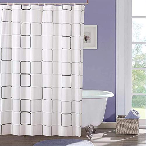 Jsdoin Cortina de ducha impermeable resistente al moho, tela PEVA, cortina de baño con impresión cuadrada, 180 x 200 cm, con 12 ganchos de plástico