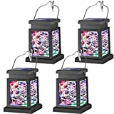 DIKAIDA 4PCs Solar Lanterns Outdoor, Colored Hanging Solar Lights, Colorful Solar Powered Outdoor Lights with 30 LEDs, Decoration Lights for Patio, Garden, Tree, Umbrella, Landscape