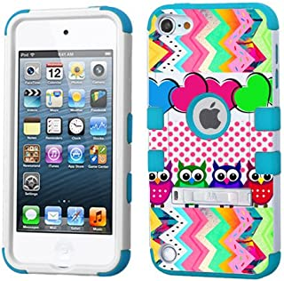 iPod touch 5th 6th Generation Colorful Owls,White Plastic/Blue Silicone 3-Piece Style Hybrid Hard Case Cover for Apple- For Girls And Boys-Shockproof Dustproof with Stand (Colorful Owls)