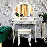 JIFULI Vanity Makeup Table with 4 Drawers, 3-pane Beveled Mirror, 10 Dimmable LED Mirror Lights, Upholstered Stool Vanity Set