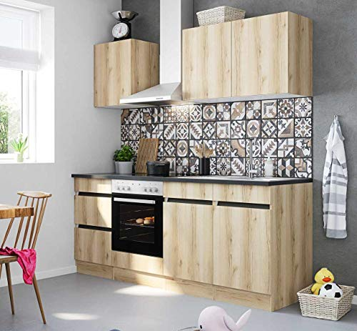 Küchenblock Kaya 210 cm mit Einbauspüle ohne Elektrogeräte in Wildeiche Nachbildung