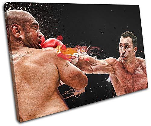 Bold Bloc Design - Wladamir Klitschko Boxing Sports 45x30cm Single Leinwand Kunstdruck Box gerahmte Bild Wand hangen - Bereit Zum Aufhangen - Canvas Art Print RC-2207(00B)-SG32-LO-A