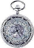 Reloj de bolsillo mecánico automático Vintage Flip Open Hollow Hollowing Reloj de bolsillo suéter Cadena de la cadena Decoración de bolsillo reloj,Silver