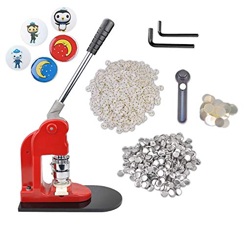 Button Maker, Eyerayo Button Badge Maker Machine 25mm 1inch with 1000 Button Parts and 1 inch 25mm Circle Cutter