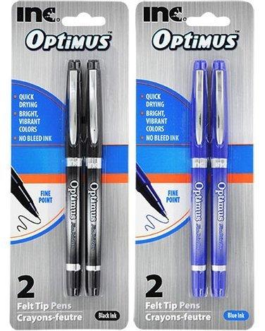 I-N-C Optimus 4 Felt Tip Fine Point Pens 2 Black/2 Blue - No Bleed Ink