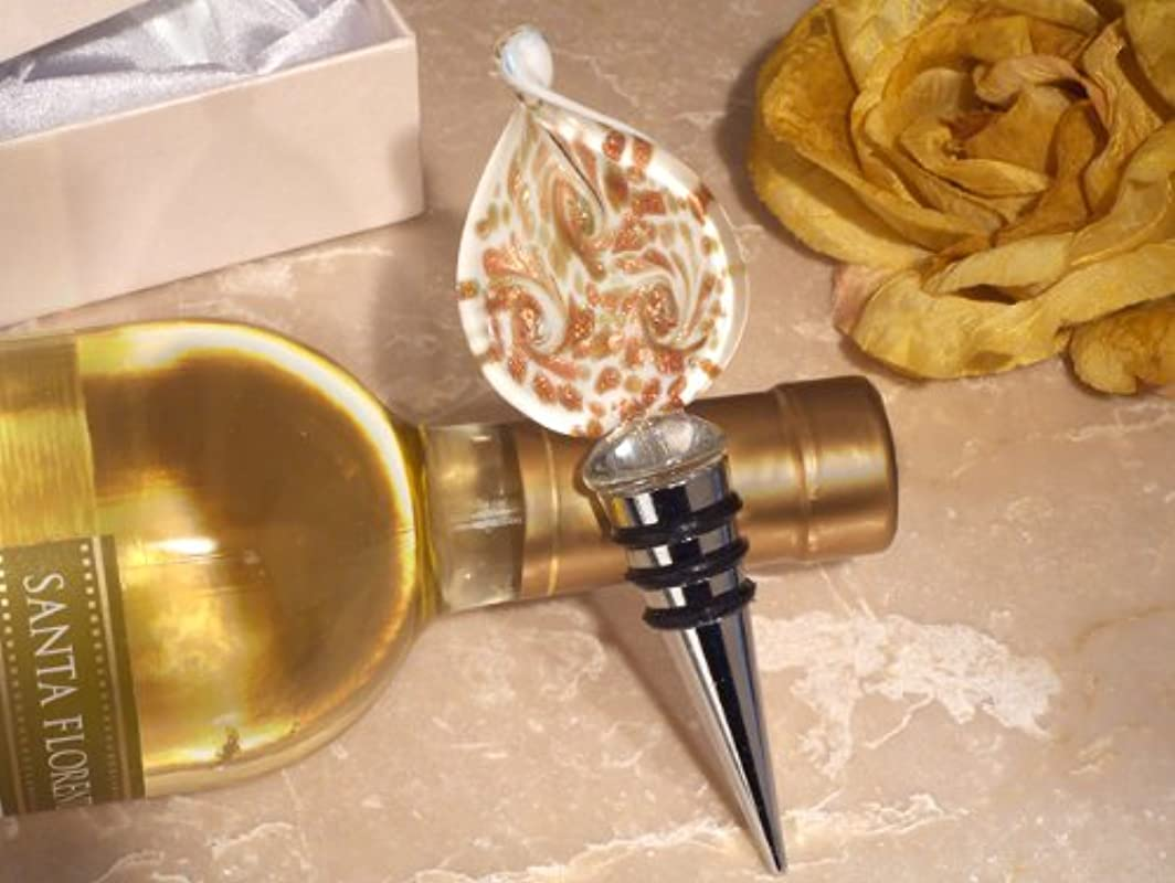 Stunning Murano Design Gold And White Bottle Stopper From FavorOnline