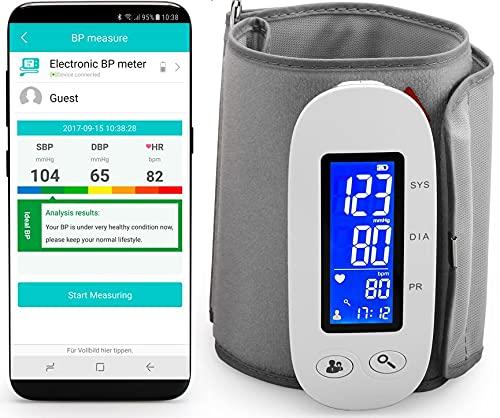 MedX5 (Upgrade 2019) Wireless Bluetooth Oberarm Blutdruckmessgerät mit Gratis App für iOS und Android, kabelloses Blutdruckmesser mit Herzfrequenz-Erkennung, EXPORTFUNKTION der Messwerte vorhanden