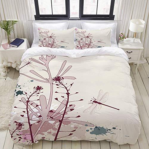 ERWULING Bettwäsche-Set, Mikrofaser,Schmutz-Art-Design-Blumen-Blätter und Wanzen-Fliegen-Flügel-Bild,1 Bettbezug 200 x 200cm+ 2 Kopfkissenbezug 80x80cm