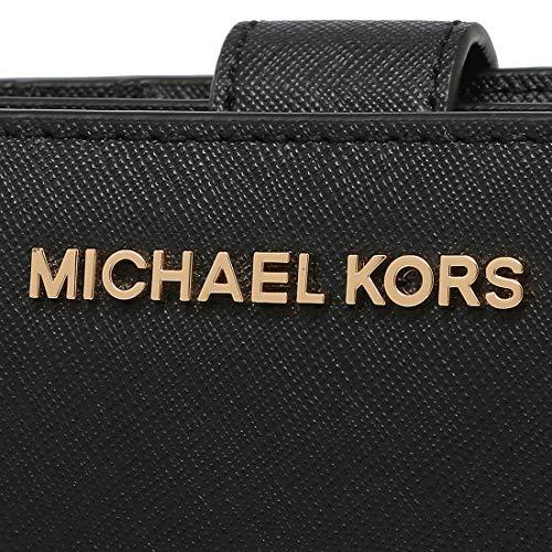 [マイケルコース]財布アウトレットMICHAELKORS35T9RTVF2LJETSETTRAVELBIFLDZIPCOINWLLETLEATHERレディース二つ折り財布無地(1)BLACK[並行輸入品]