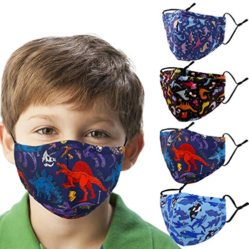 Woplagyreat Dinosaur Kids Face Mask with Adjustable Ear Loops, Soft Fabric Washable Reusable Face Mask for Protection, Designer Breathable Cloth Cotton Madks Facemask for Girl Boy Children Gift