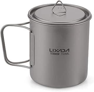 Lixada Camping Cookware Set - Ultralight Titanium Cup Mug - Camping Fry Pan Foldable Handle with Lid and Stuff Sack Titanium Pot