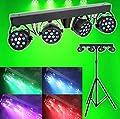 Par Light Set Sound Active DMX LED Disco Club DJ RGBW Lighting Effect Spotlight Kit With Stand
