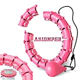 Weighted Hoola Hoops for Adults & Kids Beginners Exercising 2 in 1 Abdomen Fitness Weight Loss Massage 360° Auto-Spinning 18 Detachable Knots Adjustable Size Non-Fall Hoola Hoops