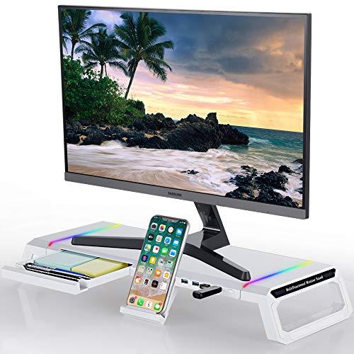 TopMate Supporto per Monitor Riser Pieghevole RGB Riser per Monitor per Computer Hub USB 3.0, Supporto da Tavolo con cassetto portaoggetti per schermi da 27 '', iMac, Laptop, Stampante-Bianco