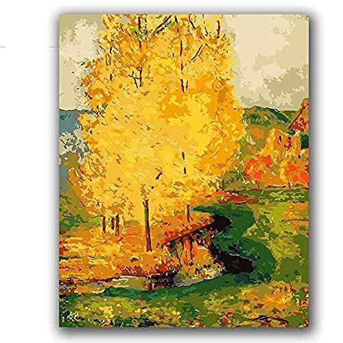 RONGFUQIANG Digitales Ölgemälde DIY Digitales Ölgemälde Digitales französisches Gemälde Gelber Baum Grüner Berg Pastoral Landschaft Gauguin Gemälde 40*50CM