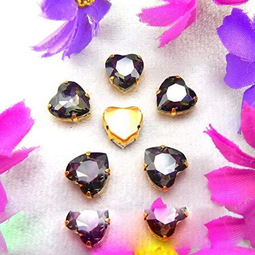 Configuración de garra de cristal de oro de cristal 7 tamaños Varios colores mezcla en forma de corazón Coser cuentas de diamantes de imitación ropa horquilla zapatos diy