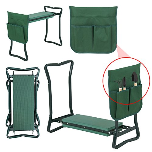 LEMY Garden Kneeler Seat Multiuse Portable Garden Bench Garden Stools Foldable Stool with Tool Bag Pouch EVA Foam Pad