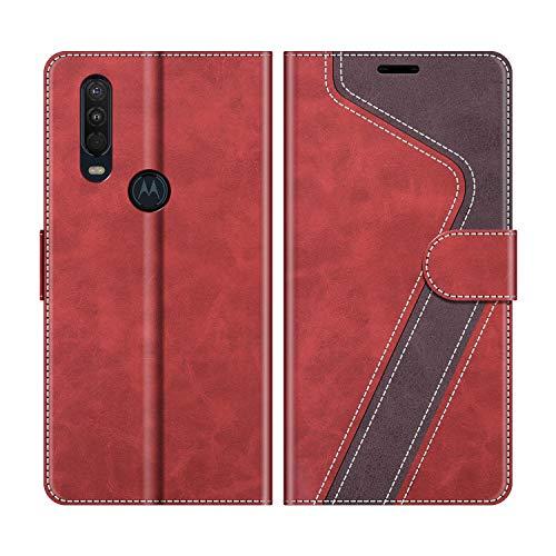MOBESV Handyhülle für Motorola One Action Hülle Leder, Motorola One Action Klapphülle Handytasche Hülle für Motorola One Action Handy Hüllen, Modisch Rot