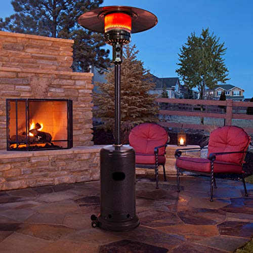 PAMAPIC 46,000 BTU Outdoor Modern Propane Powered Patio Heater with Cover, Stainless Steel, Silver Hammered