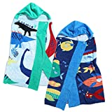Dinosaurs & Fish Hooded Towel 2 Packs, for Children Toddler Under 7, Kids Girls & Boys Towel for Bath Beach Swimming Pool, Premium Cotton Super Absorbent & Soft, Extra Large 50x30