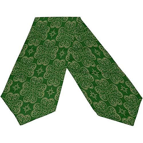 sunnee-shop Gelukkige groene klaverblad-lange tafelloper St. Patricks dagen, lente ivoor hoed rechthoekig tafelkleed loper