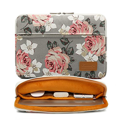 Canvaslife Gray Roses Pattern 360 Degree Protective Waterproof Laptop Sleeve 15 Inch 15 Case and 15.6 Laptop Bag