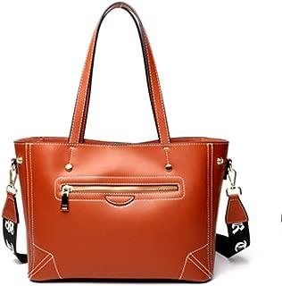 ZXK New Trend Casual Fashion Bills Shoulder Slung Large Capacity Cowhide Handbag Fashion (Color : Brown)
