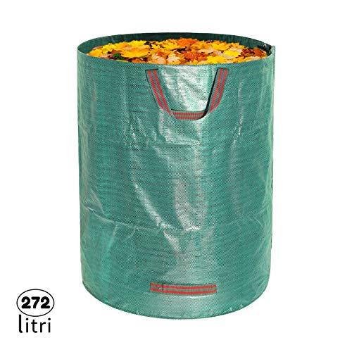 1x Sacco da Giardinaggio Professionale per rifiuti da Giardino Verdi con 4 maniglie, 272 L 76x67 cm,...