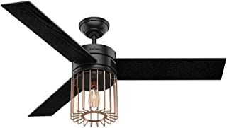 Hunter Indoor Ceiling Fan with LED Light and remote control - Ronan 52 inch, Black, 59239