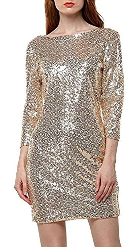 YaoDgFa Damen Paillettenkleid Minikleid Cocktailkleid Abendkleid Partykleider Etui Kleid mit Pailletten Langarm Rückenfrei Kurz, S, Gold