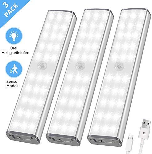 LED Nachtlicht mit Bewegungsmelder - 30er LED Schrankbeleuchtung Sensor, Schranklicht, USB Treppenlich, 3 Helligkeitsstufen, Unterbauleuchten kabellos für Küche, 3er Set