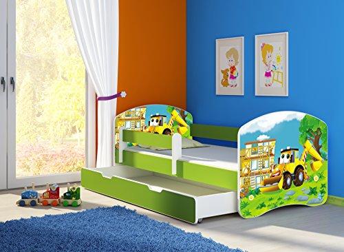Clamaro 'Fantasia Grün' 160 x 80 Kinderbett Set inkl. Matratze, Lattenrost und mit Bettkasten Schublade, mit verstellbarem Rausfallschutz und Kantenschutzleisten, Design: 20 Bagger
