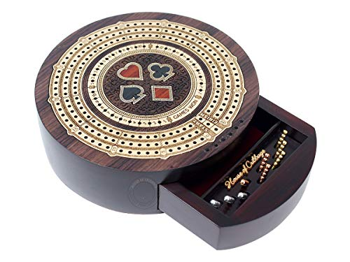 House of Cribbage - Round Shape 3 Track Non-Continuous Cribbage Board - Push Drawer Storage for Pegs and 1 Deck of Cards with Score Marking Fields for Won Games (Rosewood / Maple Wood)