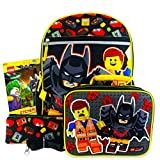 Lego Backpack and Lunch Box for Boys Kids Bundle with Zip Case, Lanyard, and Bonus Lego Batman Stickers (Lego School Supplies)