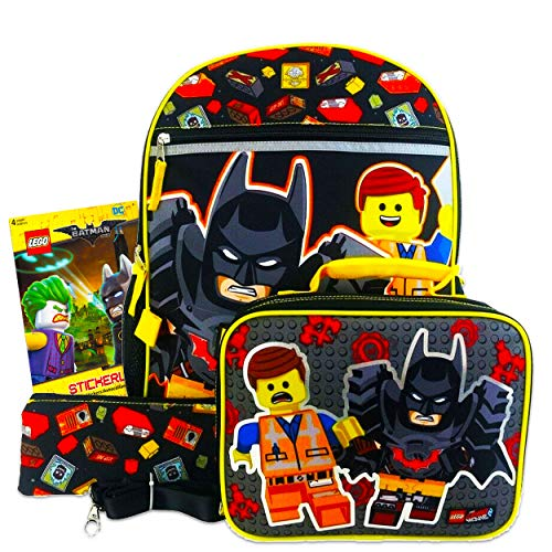 Lego Backpack and Lunch Box for Boys Kids Bundle with Zip Case, Lanyard, and Lego Batman Stickers (Lego School Supplies)